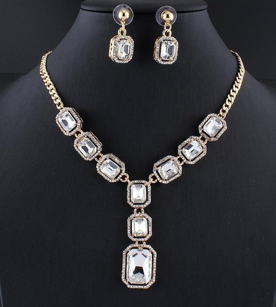 Red /& Silver Crystal Teardrop Necklace and Earrings Jewellery set Bib Collar Pendant necklace drop Dangle Earrings Diamante Rhinestone