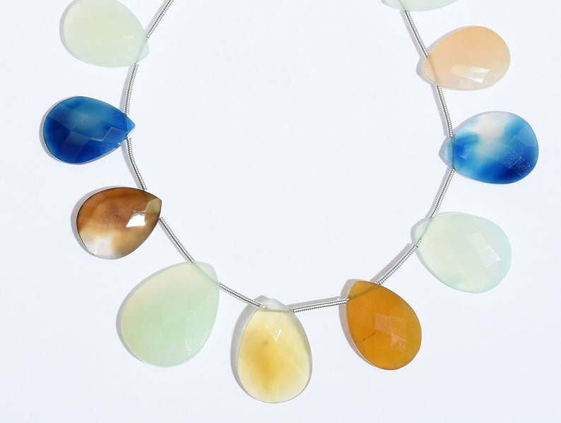 146 Carats Multi Color Beads Natural Chalcedony Pear Faceted Cut Gemstone Beads 20-27mm 8 H174
