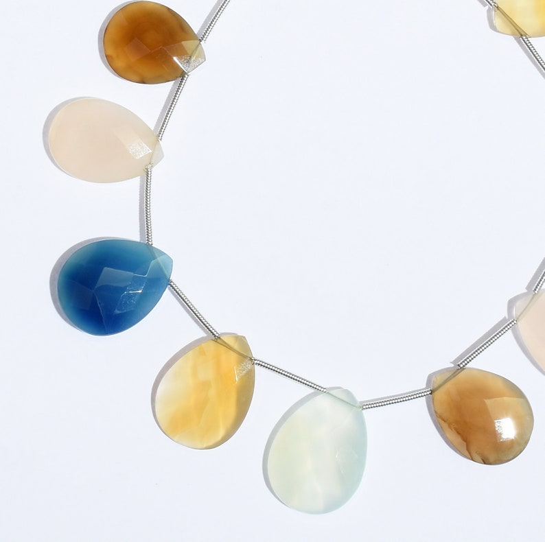 Chalcedony Drop Shape Beads Jewelry Beads Faceted Beads 104 Cts Yellow Chalcedony Gemstone Beads Chalcedony Beads