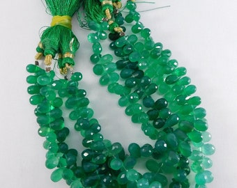 """4 Strands 8"""" 100% Natural Top Green Onyx Faceted Drop Shape Semi Precious Beads 7-13 mm. IG04-02"""
