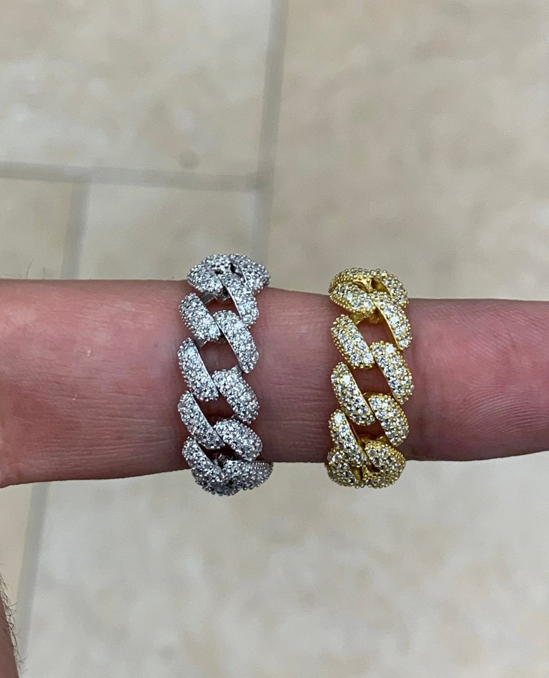 Best Seller Flexible Sizes #6,#7,#8,#9 CZ Cuban Link Ring Cuban Link Ring Brand New Pave Diamondique And 14K Gold Over Silver