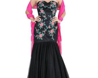 Black Floral Mermaid Dress d8e832429e53