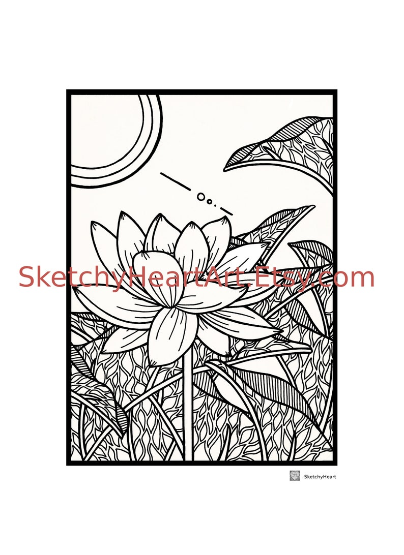 Lotus Flower In Bloom Coloring Page Therapy Art Etsy