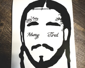 06f37b70 Post Malone Silhouette Face Tattoo Decal