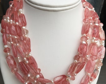 Strawberry Quartz and Freshwater Pearls Necklace