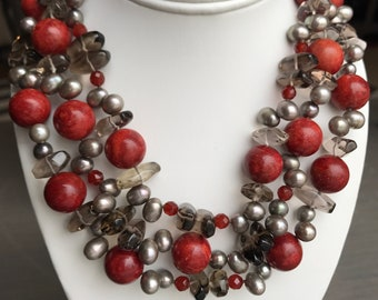 Fossil Coral and Carnelian Smoky Quartz Freshwater Pearl Necklace
