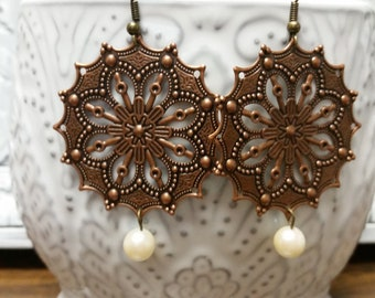 Bronze filigree earrings with pearl accent