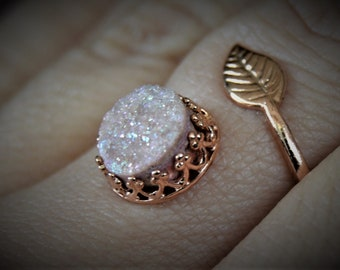 Drusy Quarts Adjustable Sterling Silver Ring