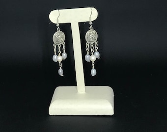 Mayan Pewter db couture Pearl Earrings