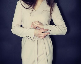 A line dress/ elegant dress/ work dress/ a long sleeve/ straight dress