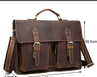 Mens leather messenger Laptop Satchel Bag -Ben Bags Factory