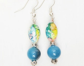 Spring - Earrings with blue and multicolored beads