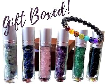 Gemstone Roller Bottle Gift, 6 Choices - DIY Gemstone Essential Oil Roller Bottle, Chakra Diffuser Bracelet, Crystal Oil Bottle Rollers