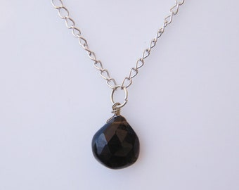 Natural Smoky Quartz Pendant Necklace Silver Plated Chain Necklace