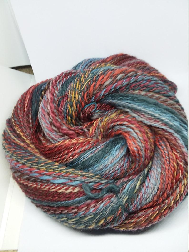handspun yarn bright open sky colorway 4 oz apporx 308 yards 2 ply finn