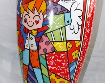 "Goebel Romero Britto ""Hug Too  35cm Glass Vase"