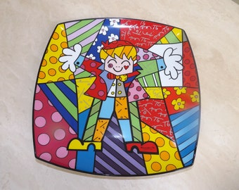 "Goebel Romero Britto ""Hug Too"" Porcelain Wall Plate"