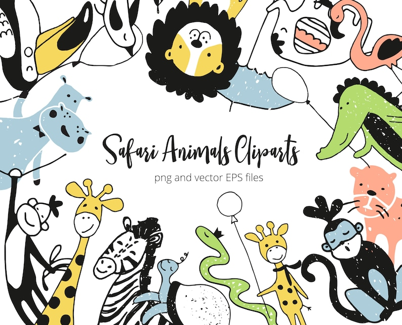 Cute Safari Animals Cliparts Set  Speech Bubbles and Lettering Phrases  vector EPS and PNG files  Childish Collection of Tropical Characters