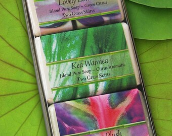 Gift Set - Bar Soap - Lovely Lotus, Kea Waimea, Puna Plush
