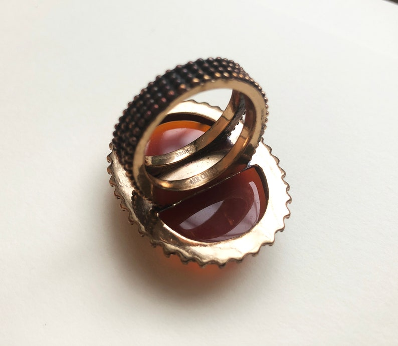bold wedding anniversary jewelry gifts for women Huge cocktail ring bronze ring with amber glass large orange cabochon ring 8 34 US