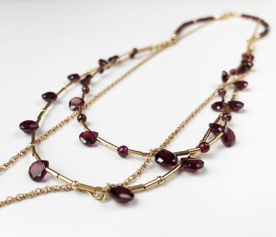 Layered necklace set Garnet tear drop necklace Vic