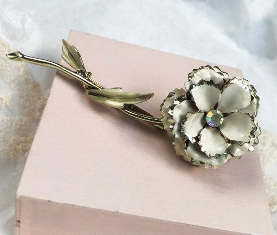 Art nouveau enamel flower brooch 1960's vintage co