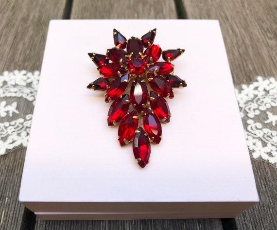 Large rhinestone brooch Vintage 1950s Red rhinest… - image 3