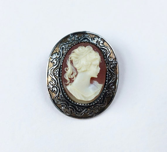 Gold Filled Cameo Brooch Pin Victorian Antique Carved Shell Cameo Brooch Neoclassical Relief Right Facing Lady Partial Signature