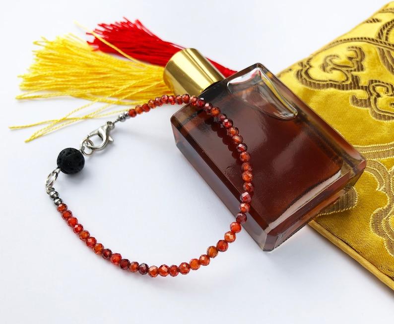 Dainty carnelian bracelet with black lava bead elegant aromatherapy bracelet women essential oil diffuser jewelry quirky stack bracelet