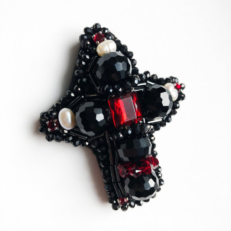 Statement art deco brooch pin Handmade beaded embroidery cross Gatsby black cross brooch Medieval jewelry gift Beaded embroidered cross pin