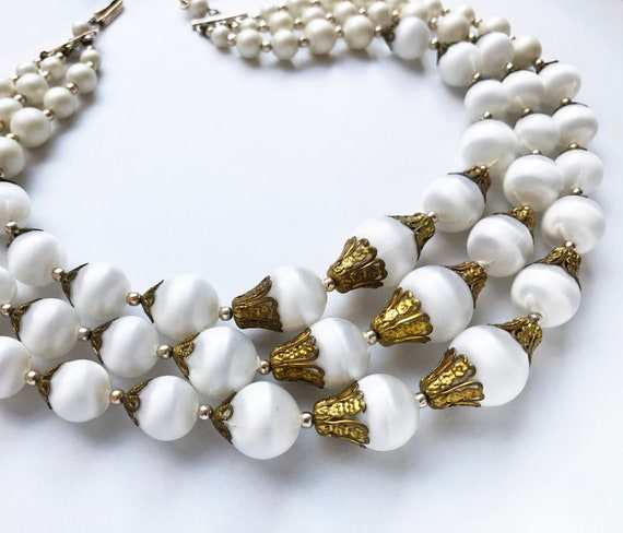 chunky layered necklace for women statement Monet jewelry Multi row white bead necklace