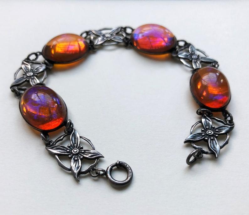 Large flower link bracelet bold color artisan jewelry chunky funky bracelet accent colorful bracelet women art glass cabochon bracelet
