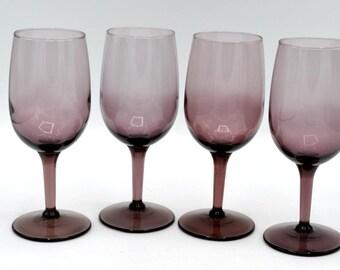 "Set of 4 Purple/Amethyst Glass 6"" Wine Glasses"
