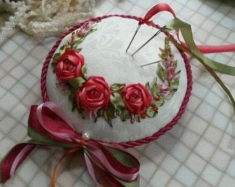 Sewing Accessory Pin cushion silk ribbon embroidery.
