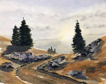 Around the Bend Original Watercolor Painting: wall decor gift idea personal office art birthday gift house warming gift WestokArt