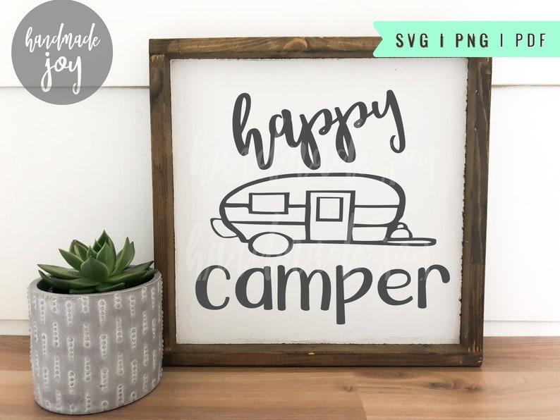 Happy Camper svg cut file camping design image 0
