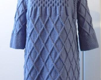 READY handmade cotton dress hand knitted sweater long pullover XXL
