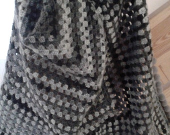 READY handmade crochet shawl with pompoms in gray and black
