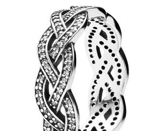 c06116455 Stackable Band Ring 925 silver, Pandora Style Ring, embroided ring, Women  ring, Girl ring, CZ diamond. Antique surface. Dluxxe -1116