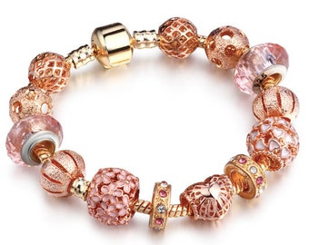 Rose Gold Pleated Beads Chains Bracelet