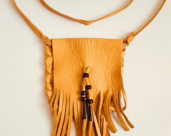 Native American Leather cross body pouch