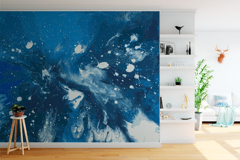 Galactic Blue Abstract Removable Wall Mural 506 image 0