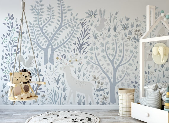 Woodland Forest Wall Mural On White Enchanted Animals Peel And Stick Wallpaper Nursery Wallpaper Nature Temporary Wallpaper 520