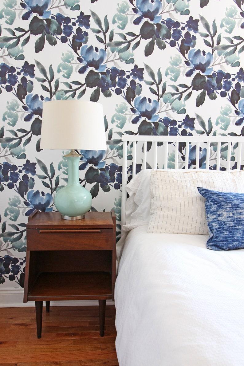 Flora Deep Greens Floral Removable Wallpaper Vintage Peel Etsy