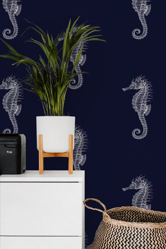 Nautical Seahorses On Navy Removable Wallpaper 523 Etsy