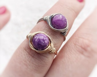 Purple wire wrapped ring,  gold or silver plated
