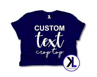 2b01c6891e4ca Navy Blue Custom Text Crop Top