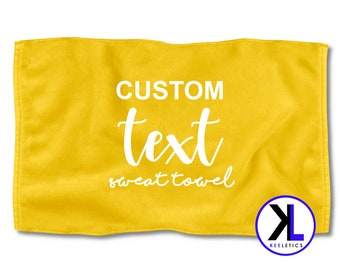 1b55ab7c83 Yellow Custom Text Sweat Towel | Personalized Towel | Customized Towel | Gym  Towel | Exercise Towel | Fitness Towel | Workout Towel