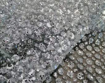 1 yard Silver Glitter Mesh Fabric Silver glued glitter sparkle net mesh  breathable lace fabric Mesh fabric for evening dress Wedding lace a883c6422324