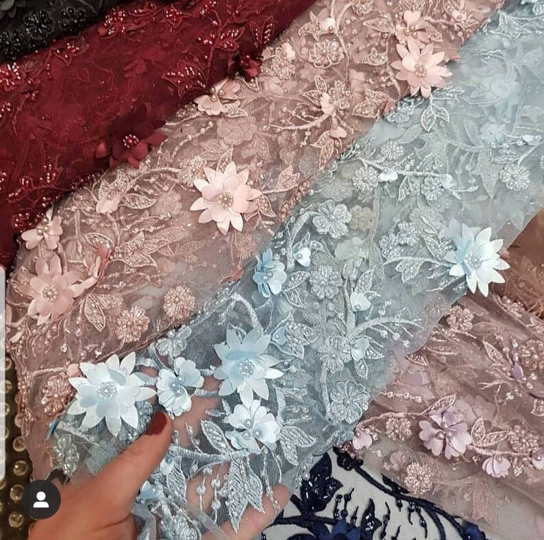 3D Bridal Lace fabric Lace on tulle beaded and decorated with pearls 3d wedding lace fabric Fashion Lace Wedding lace fabric  7 colors lace